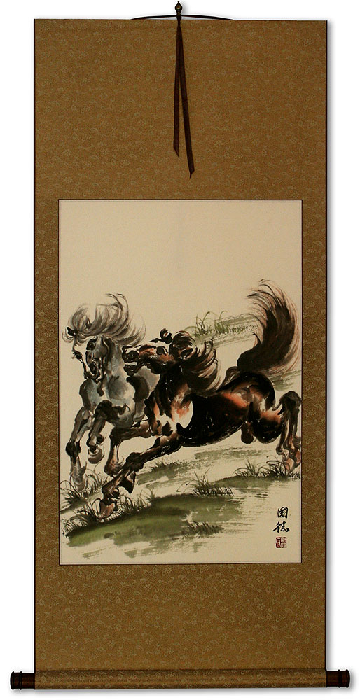 Two Galloping Horses Wall Scroll