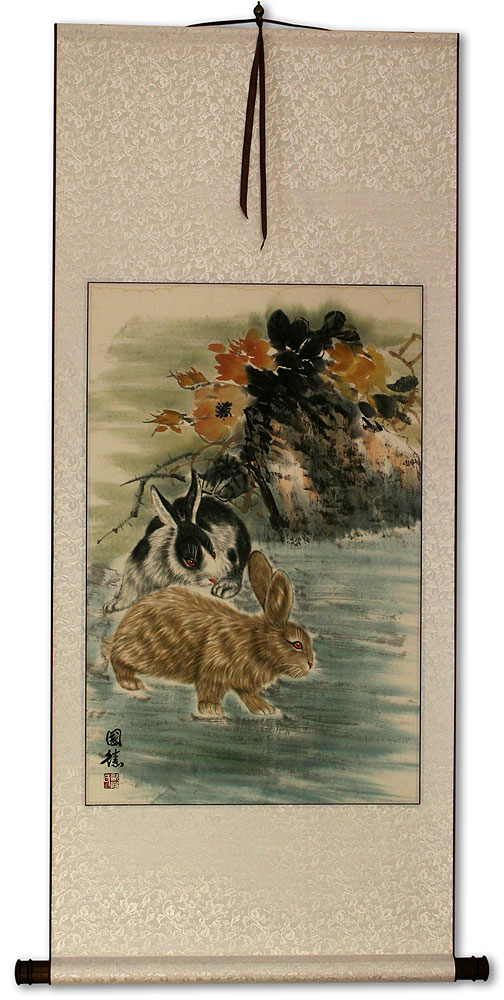 Rabbits - Chinese Scroll