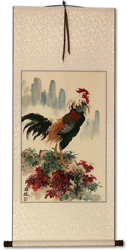 Chinese Farmyard Rooster Wall Scroll