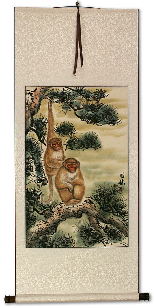Pine Tree Monkeys - Asian Wall Scroll