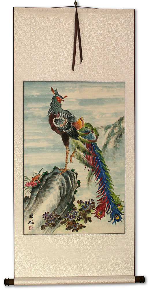 Phoenix / Golden Pheasant Wall Scroll