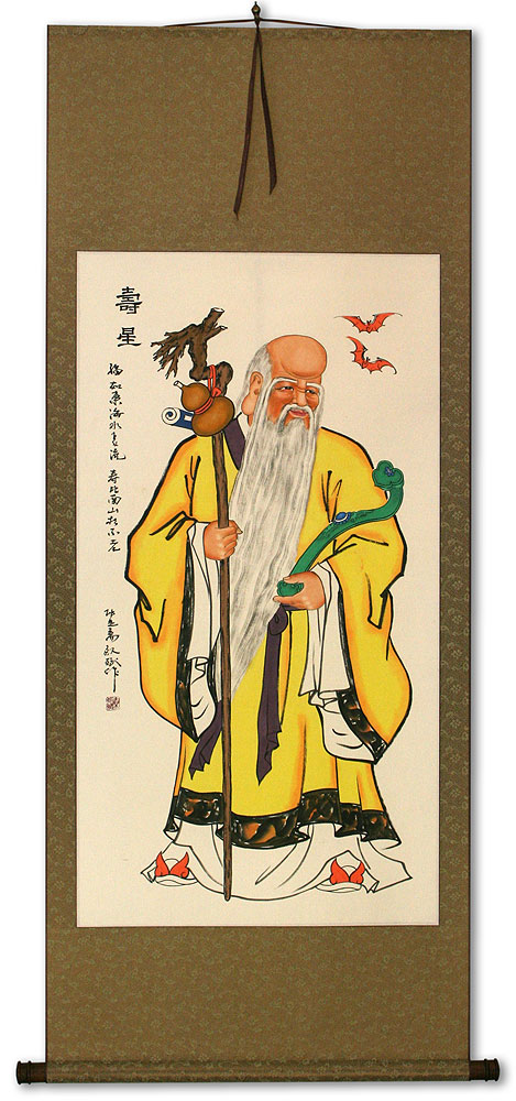 The God of Longevity - Chinese Wall Scroll