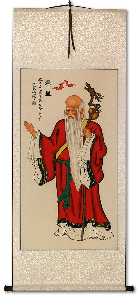 God of Longevity - Asian Wall Scroll