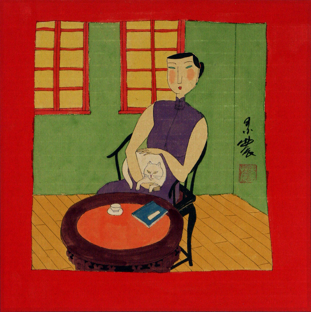 Asian Woman and Cat - Modern Chinese Art Painting