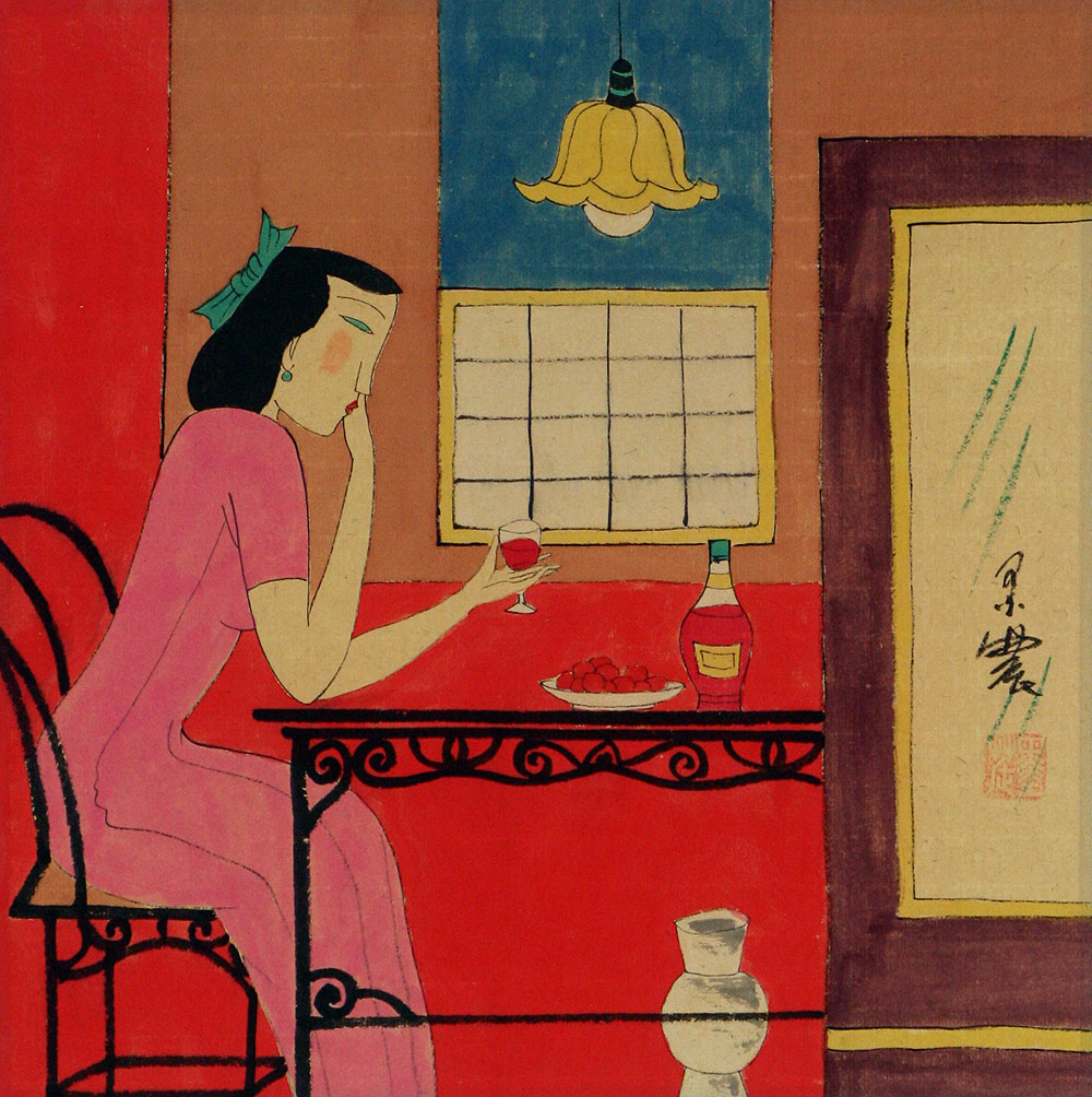 Asian Woman Drinking - Modern Art Painting