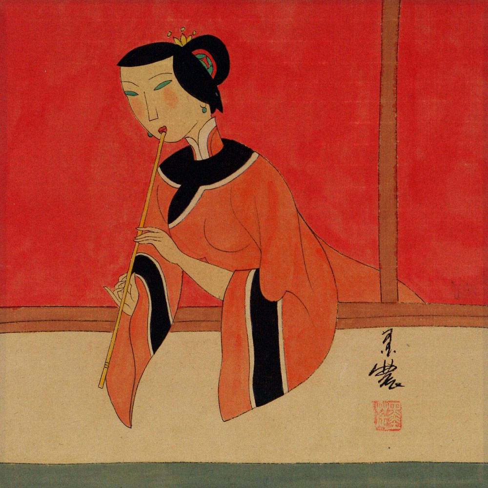 Woman Playing Flute - Modern Art Painting