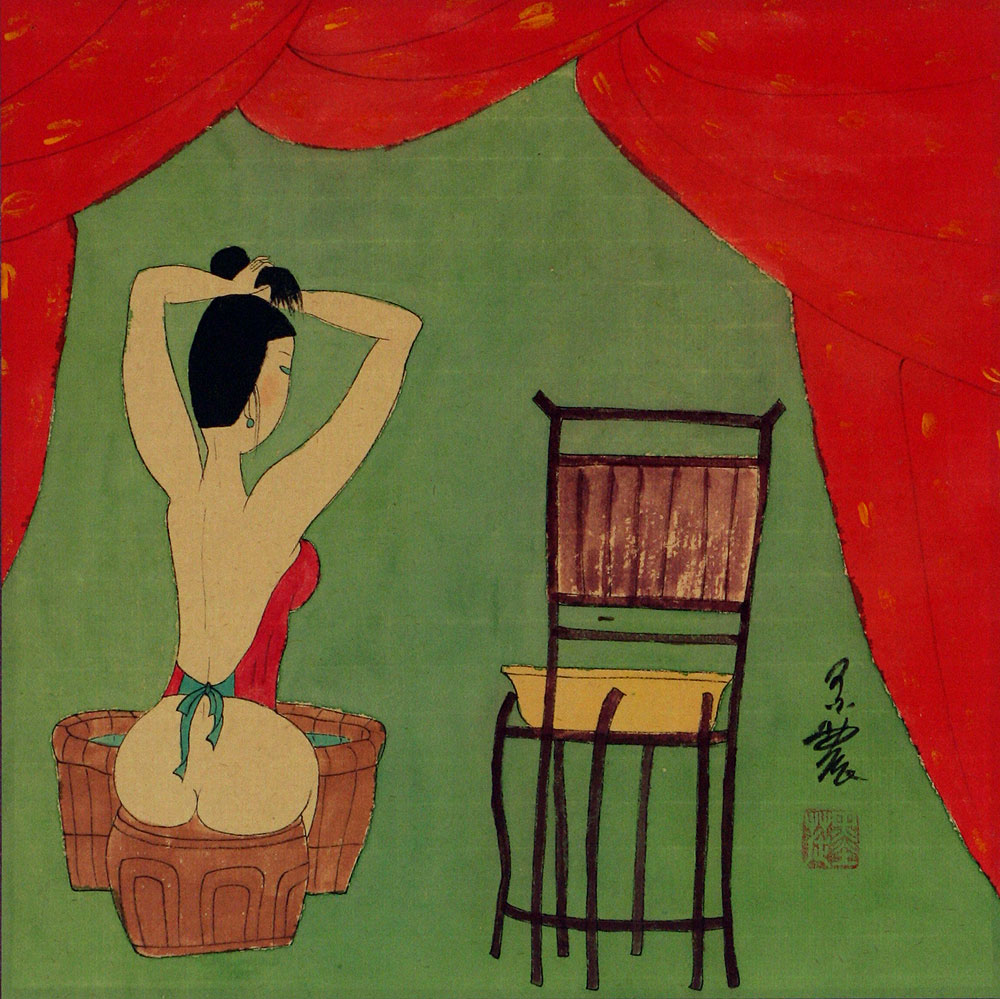 Lady Preparing for Bath - Chinese Modern Art Painting