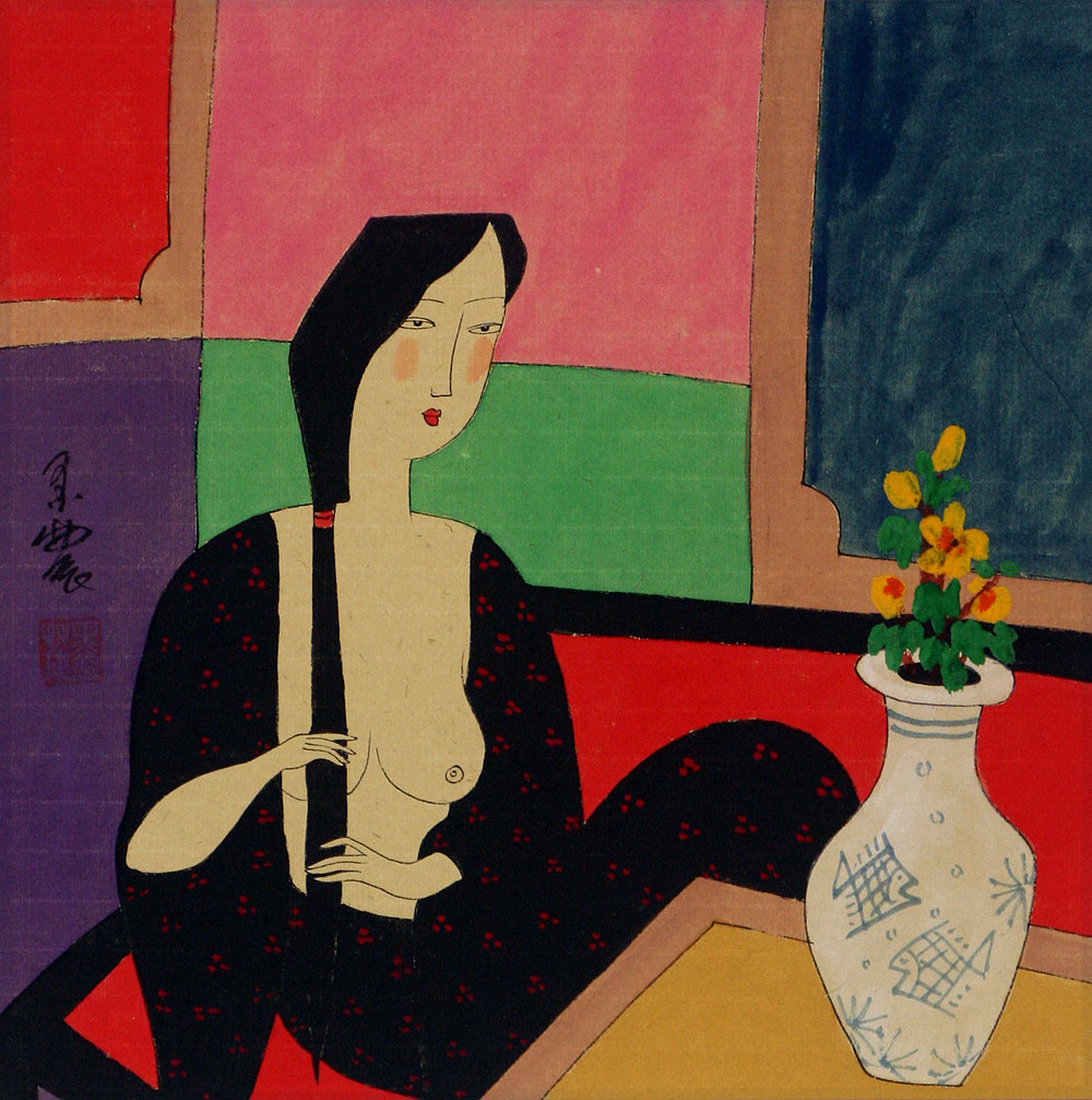 Chinese Woman - After Bath - Modern Art Painting