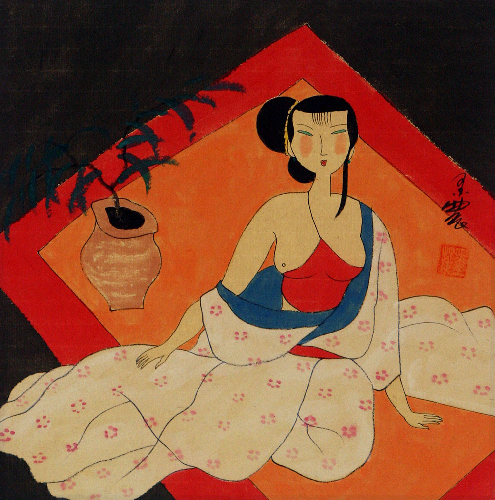 Semi-Nude Chinese Woman Relaxing - Modern Art Painting