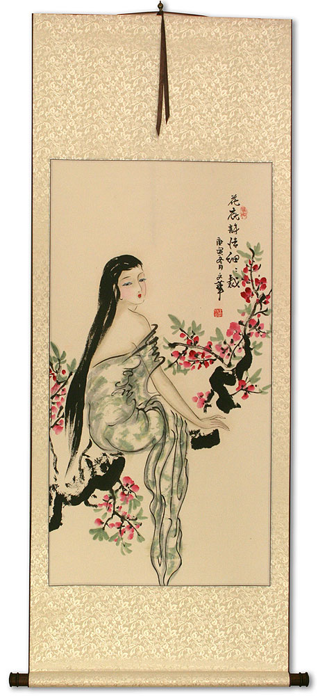 Beauty Under the Flowers Like Poetry - Chinese Wall Scroll