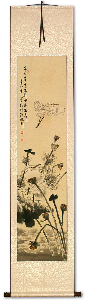 Egrets and Withering Lotus - Wall Scroll