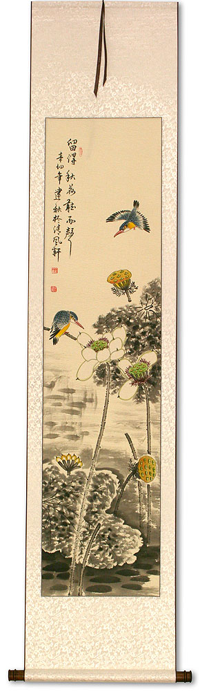 Kingfisher Birds in Lotus Pond - Wall Scroll