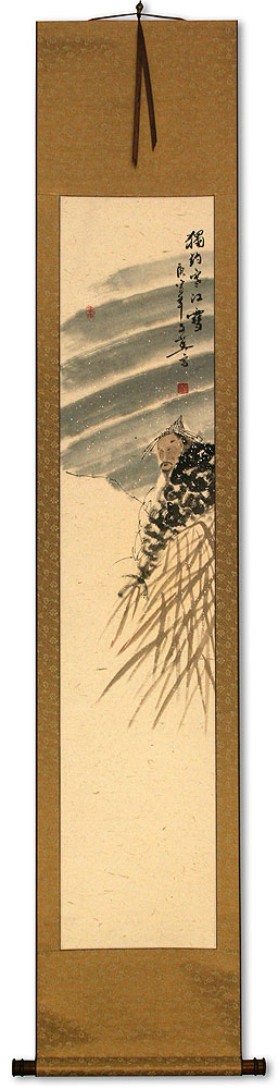 Solitary Old Man Fishing in Snowy River - Ancient Style Wall Scroll