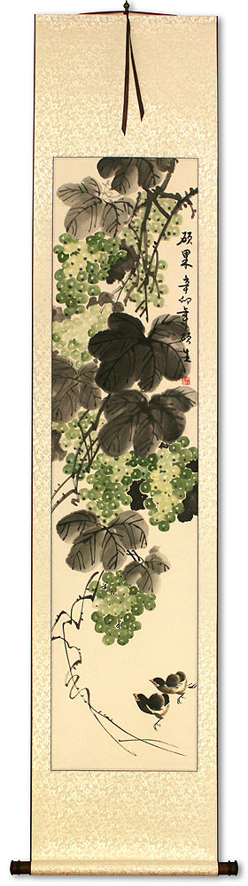 Great Harvest - Birds and Grapes - Chinese Scroll