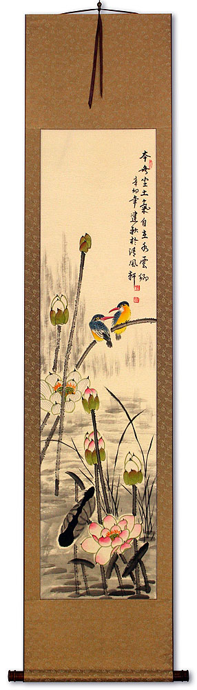 Kingfisher Birds Above the Lotus Pond - Wall Scroll