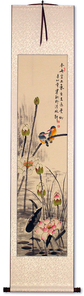 Kingfisher Birds Amidst Lotus Flowers - Wall Scroll