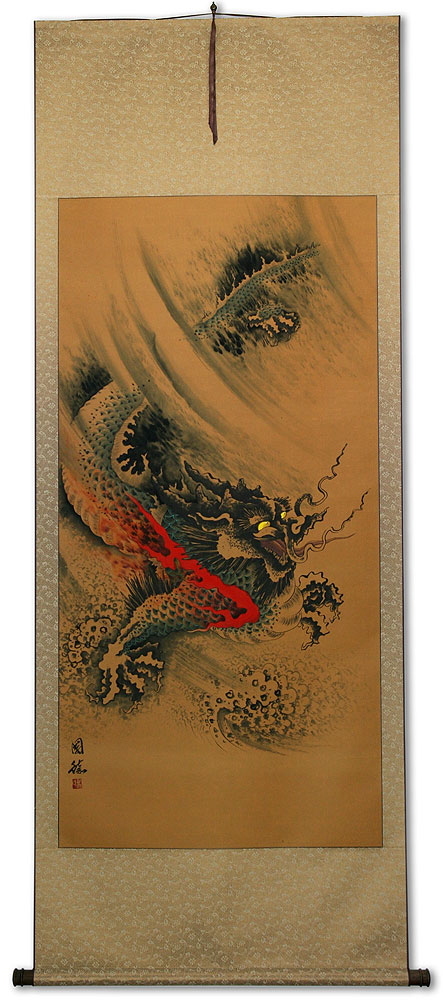 Flying Chinese Dragon - Chinese Wall Scroll - Tigers & Dragons ...