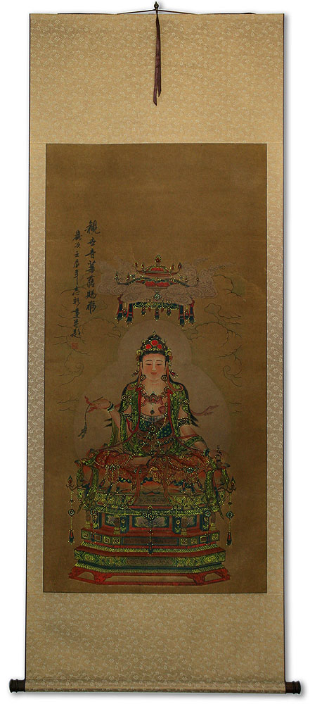 Guanyin / Kuan Yin / Kannon - Partial-Print Wall Scroll