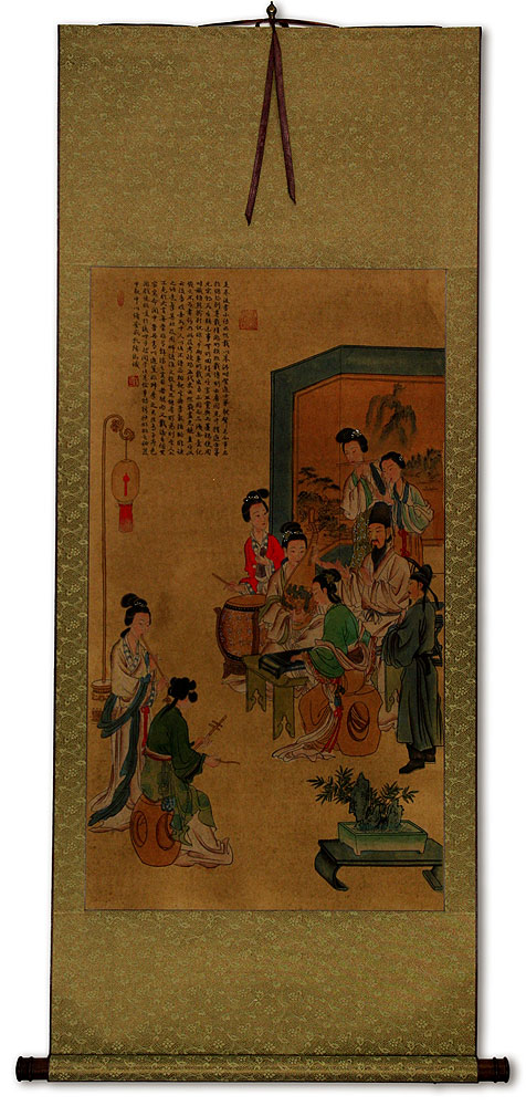 Musicians Gathering Partial-Print Wall Scroll