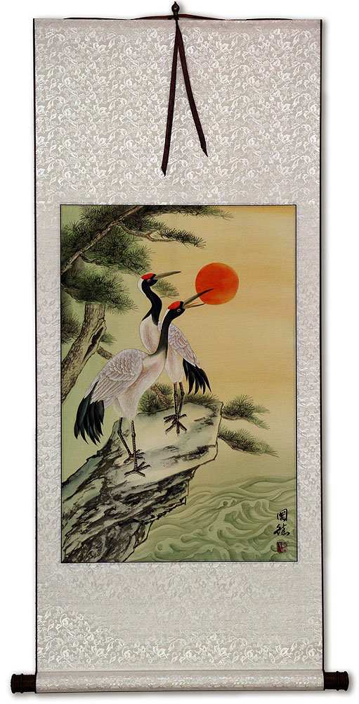 Antique-Style Asian Cranes Wall Scroll
