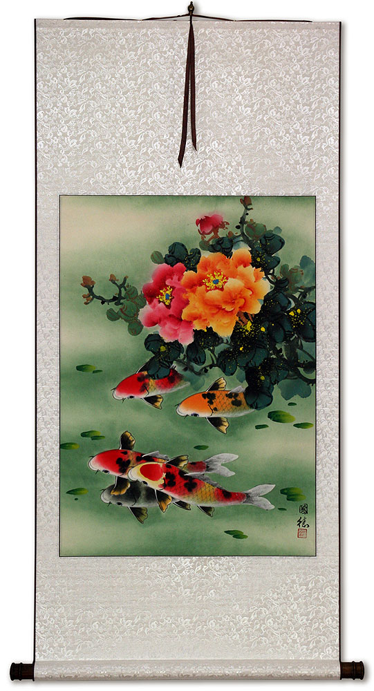 Peony Flowers & Koi Fish - Chinese Wall Scroll