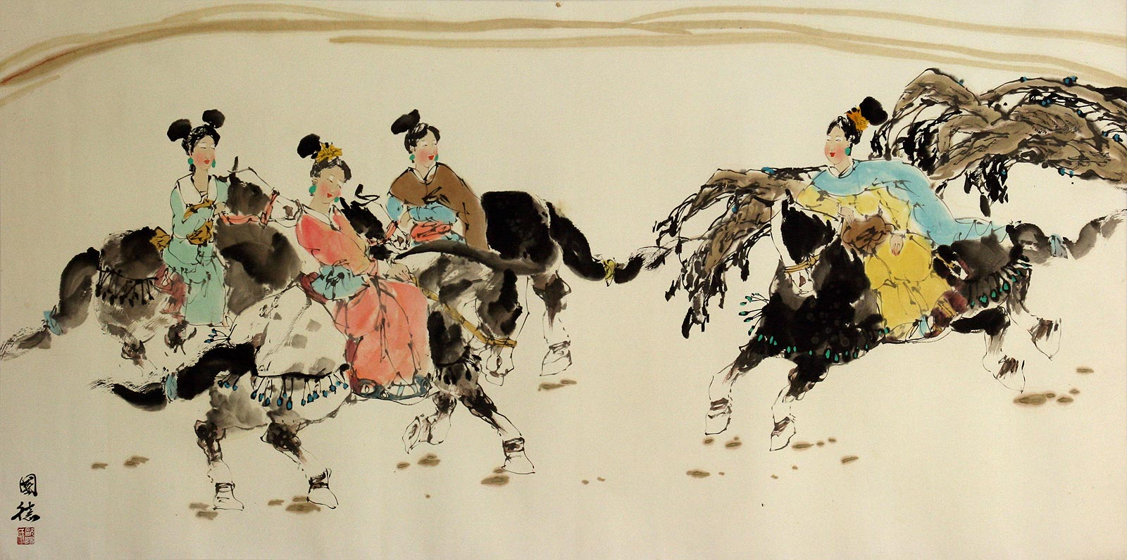Tang Dynasty Horseback Ride - Large Painting