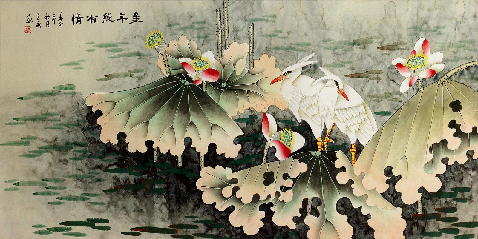 Egrets and Lotus Flowers - Eternal Love - Large Painting