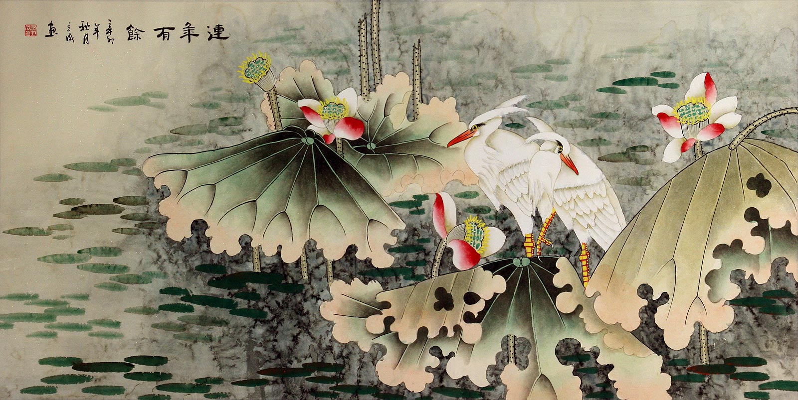 Egret Birds and Lotus - Beautiful Chinese Painting