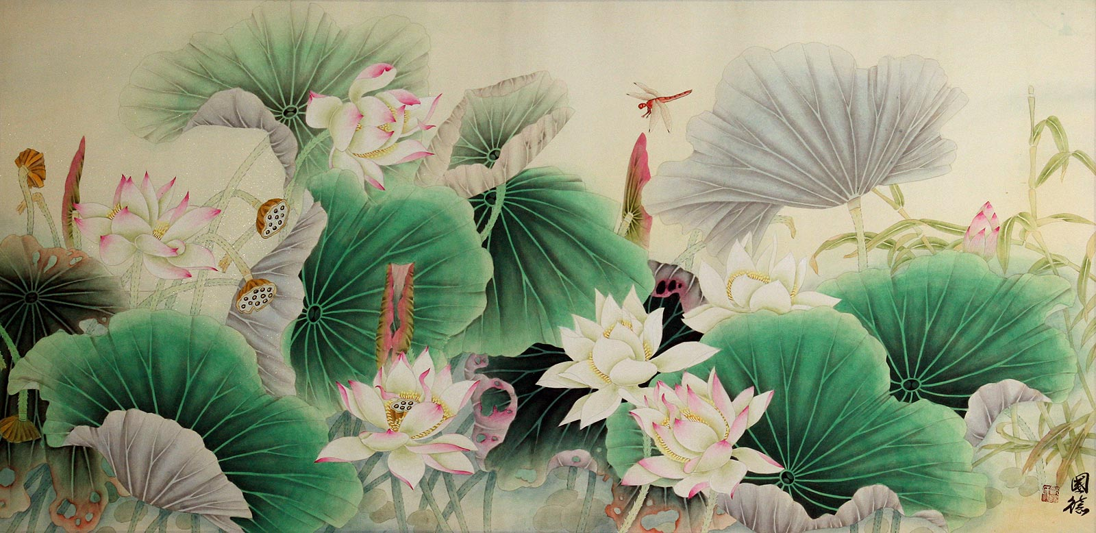 Lotus Bamboo And Dragonfly Beautiful Flowers Painting Birds