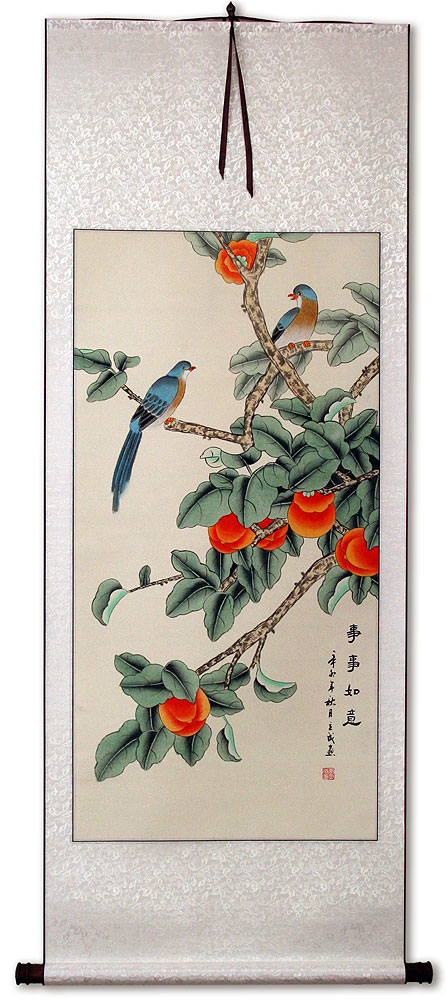 Bird and Persimmon - The Golden Autumn - Chinese Scroll