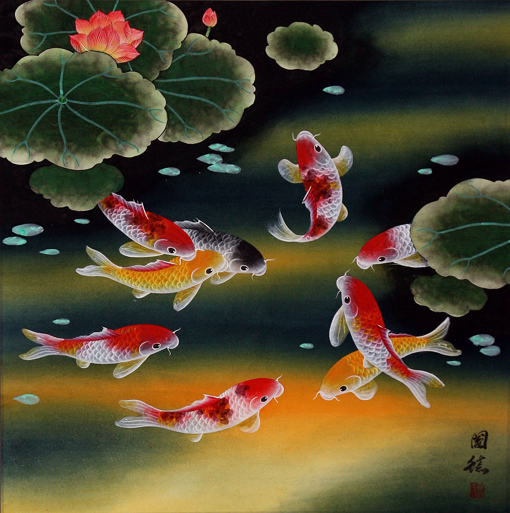 Nine Koi Fish and Lotus Flowers - Asian Painting