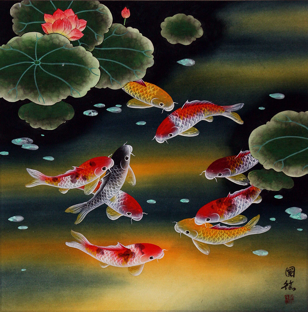 Nine Koi Fish and Lotus Flowers Painting