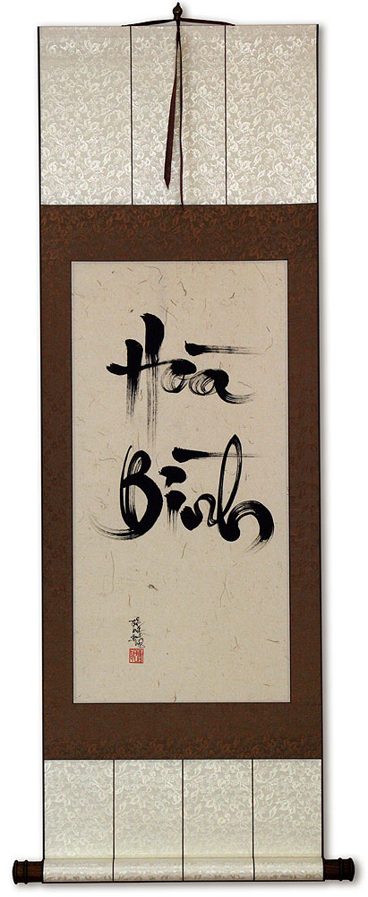 Peaceful Harmony Vietnamese Calligraphy Scroll