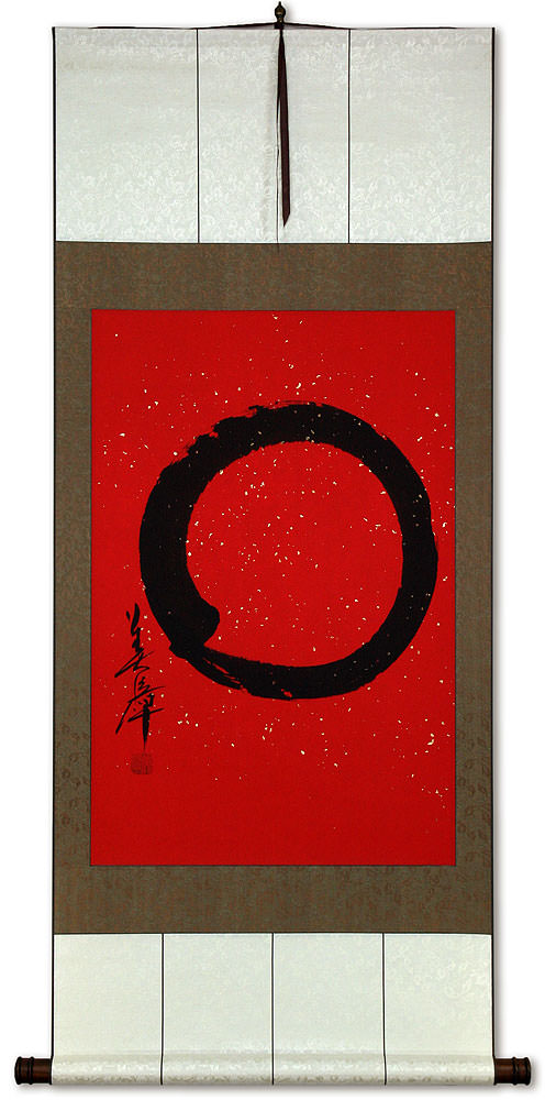 Large Red Enso Symbol - Japanese Wall Scroll