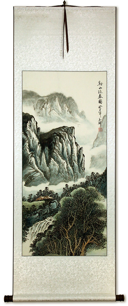 Mountains Waterfall and River Village Home - Chinese Landscape Wall Scroll