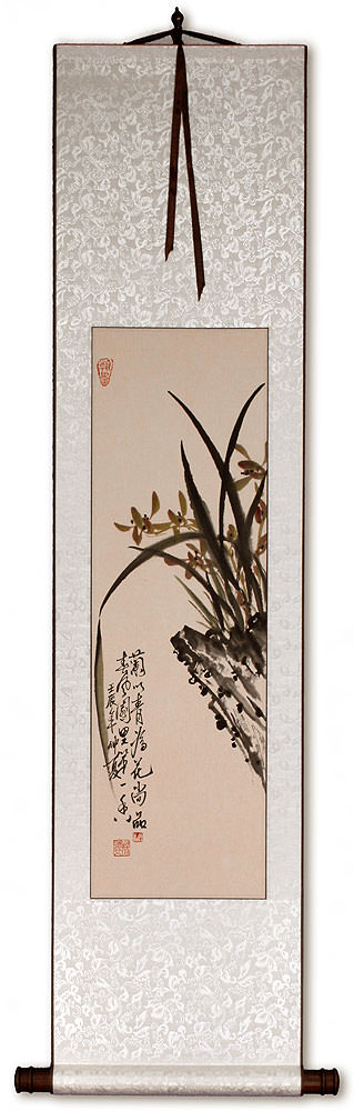 Traditional Chinese Orchid Wall Scroll
