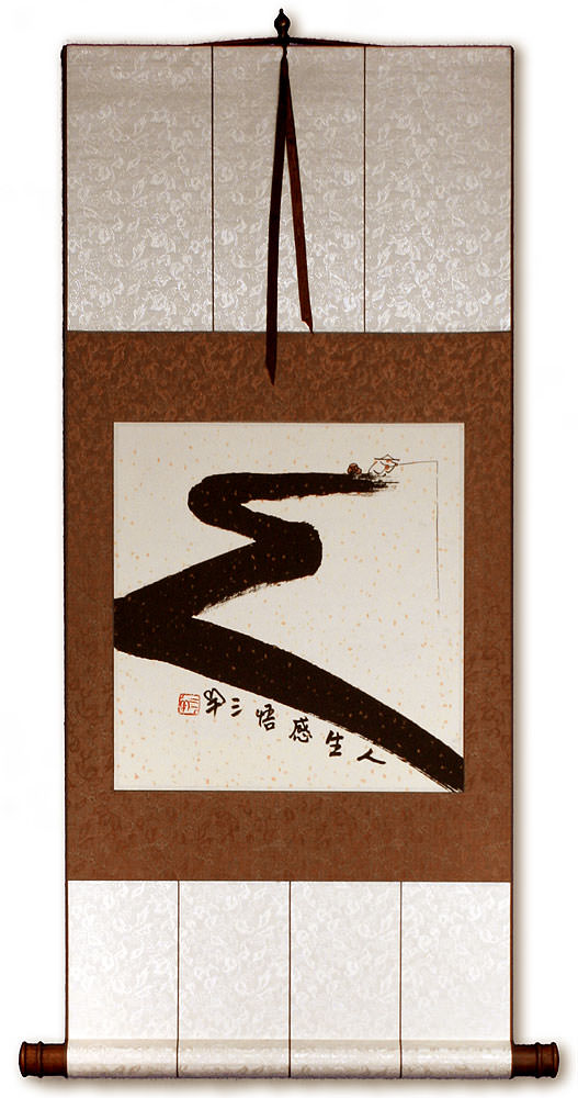 Gone Fishing for Life - Ancient Chinese Philosophy Wall Scroll