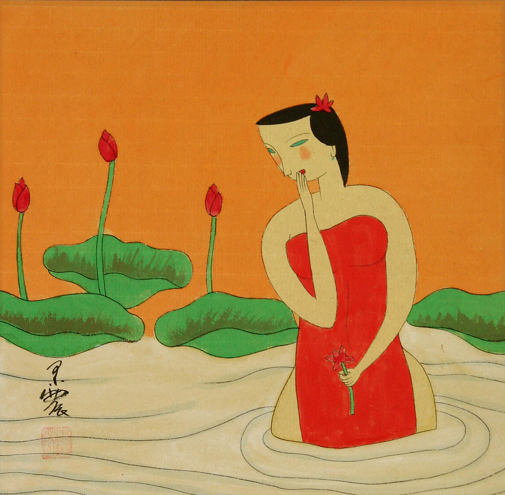 Chinese Woman in the Lotus Pond - Modern Art Painting