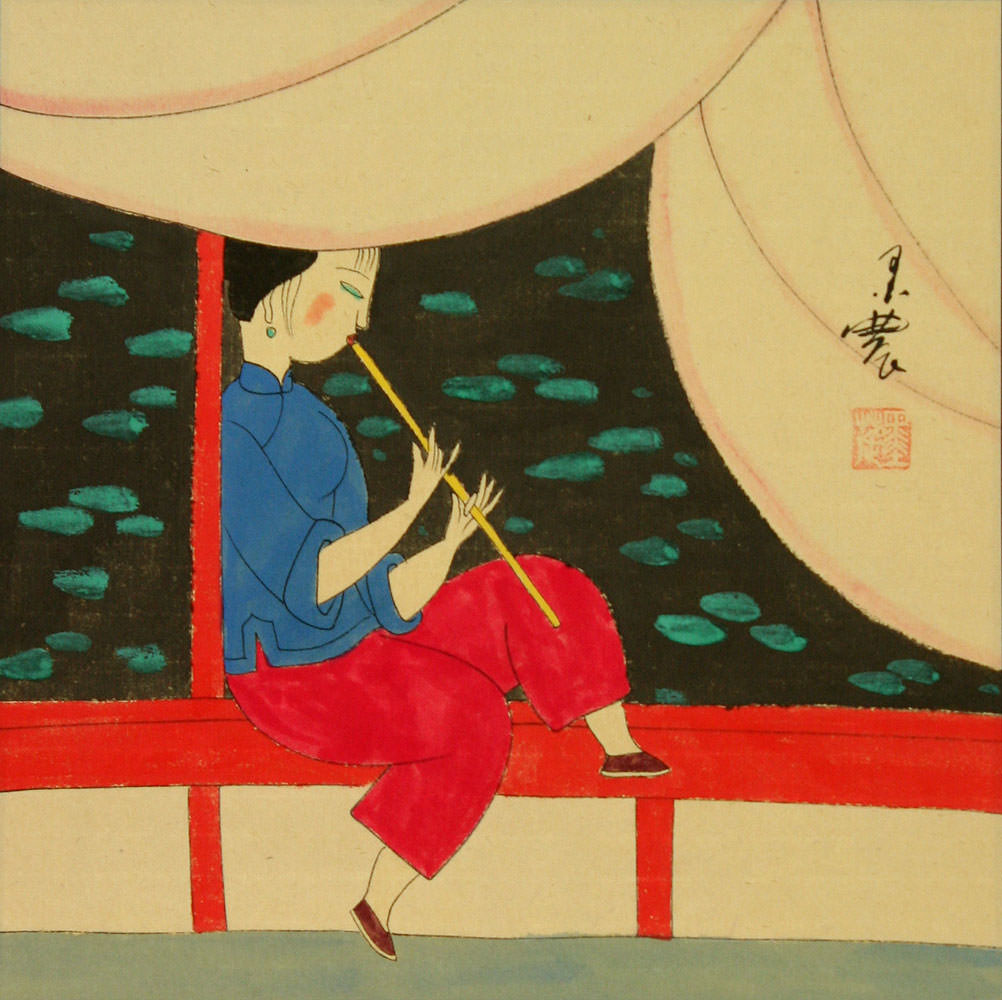 Woman Playing Flute by Pond - Modern Art Painting