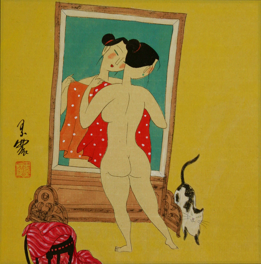 Nude Woman Mirror Gazing - Chinese Modern Art Painting