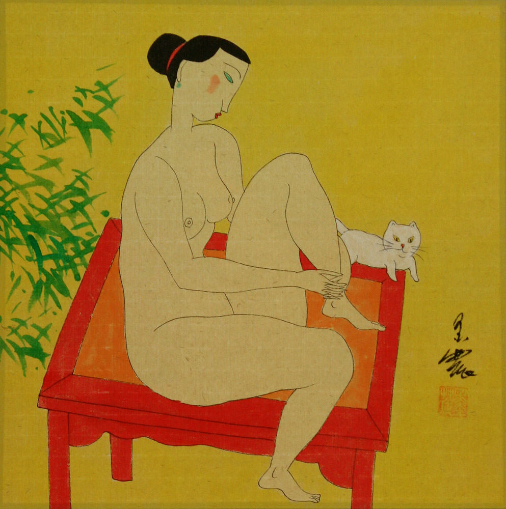 Hanging Out in the Nude - Modern Art Asian Painting