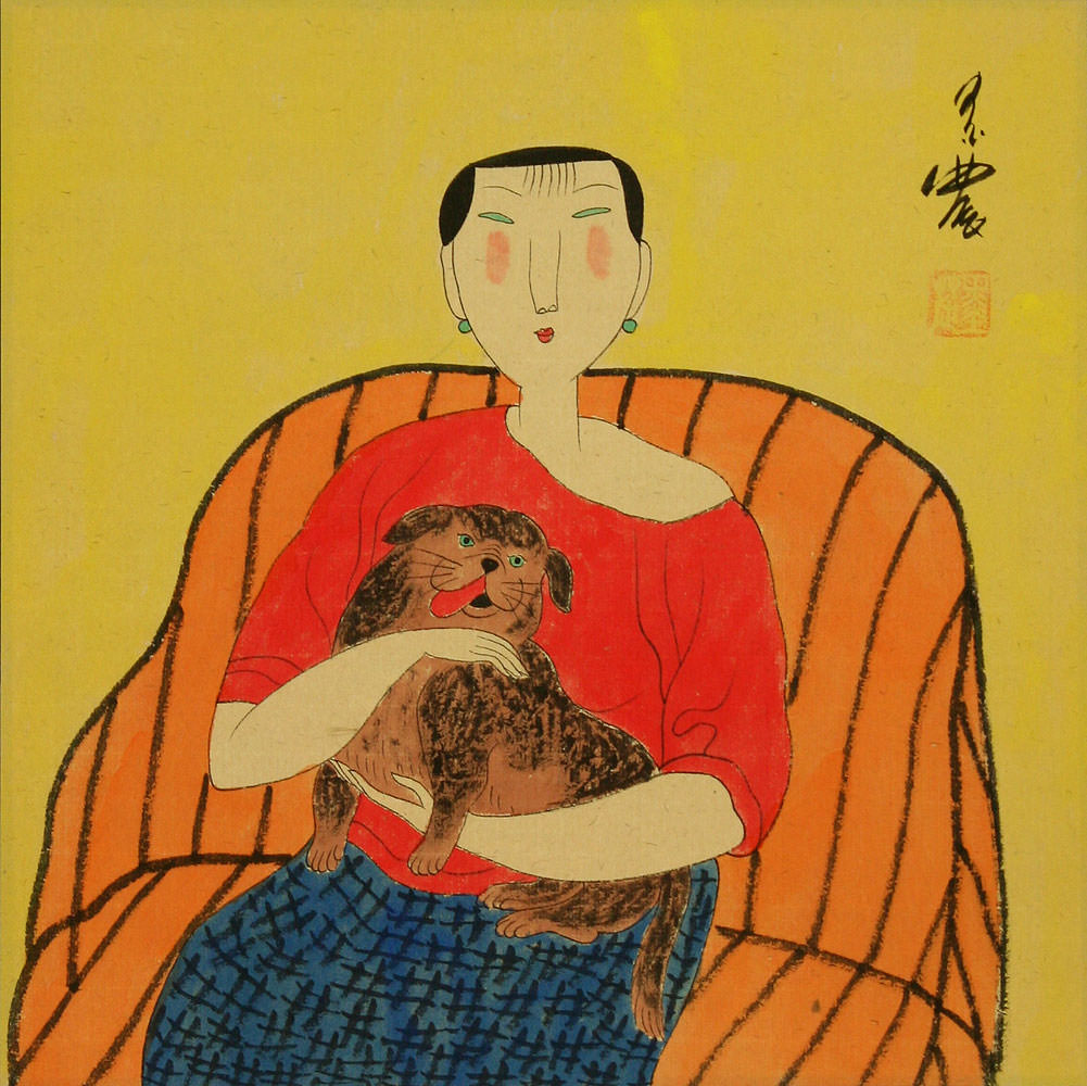 Woman and Dog - Chinese Modern Art Painting