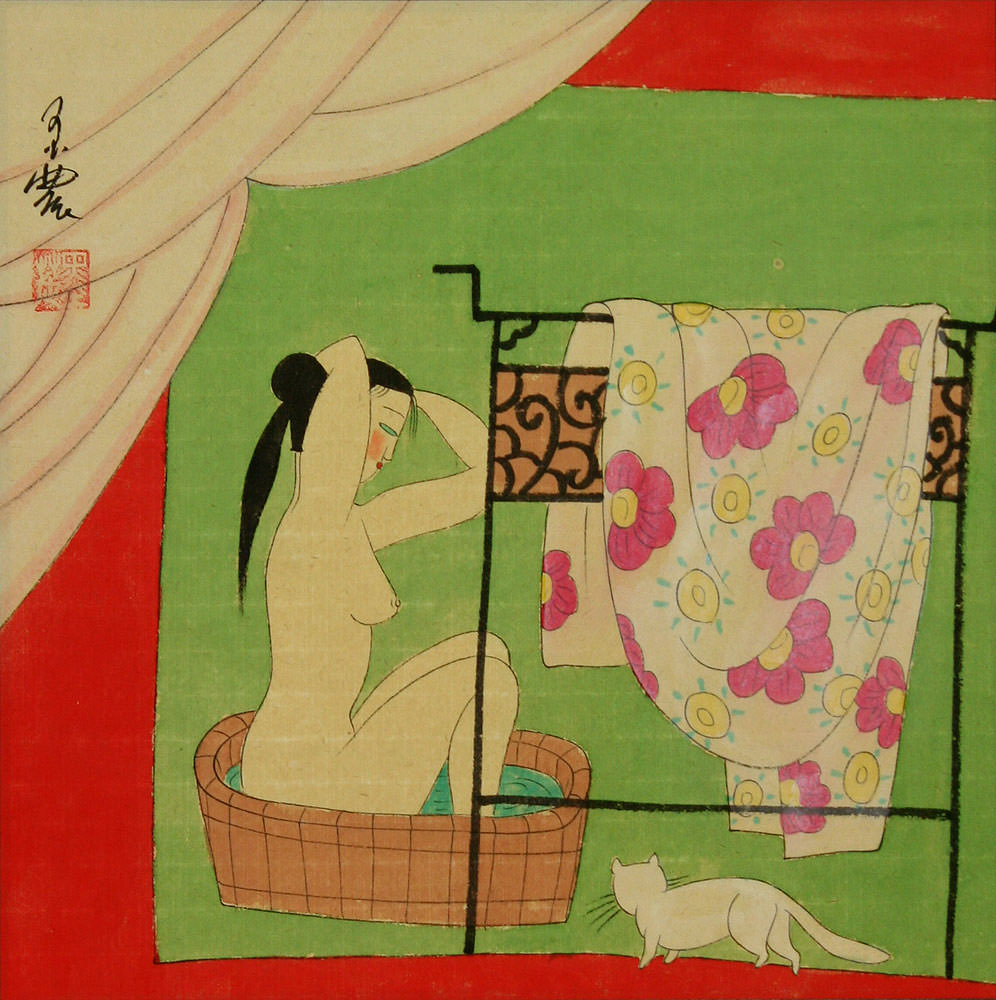 Bathing Chinese Lady - Chinese Modern Art Painting