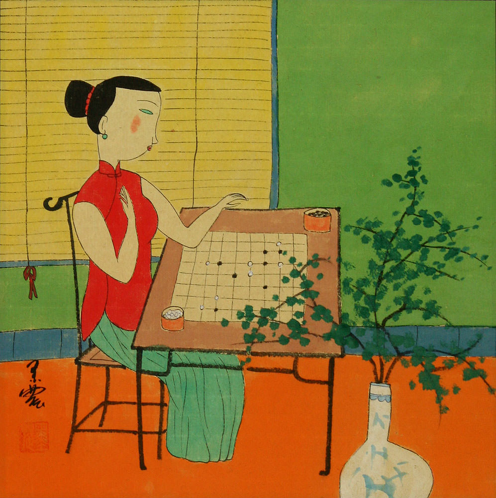 Woman Playing Weiqi or Go - Modern Art