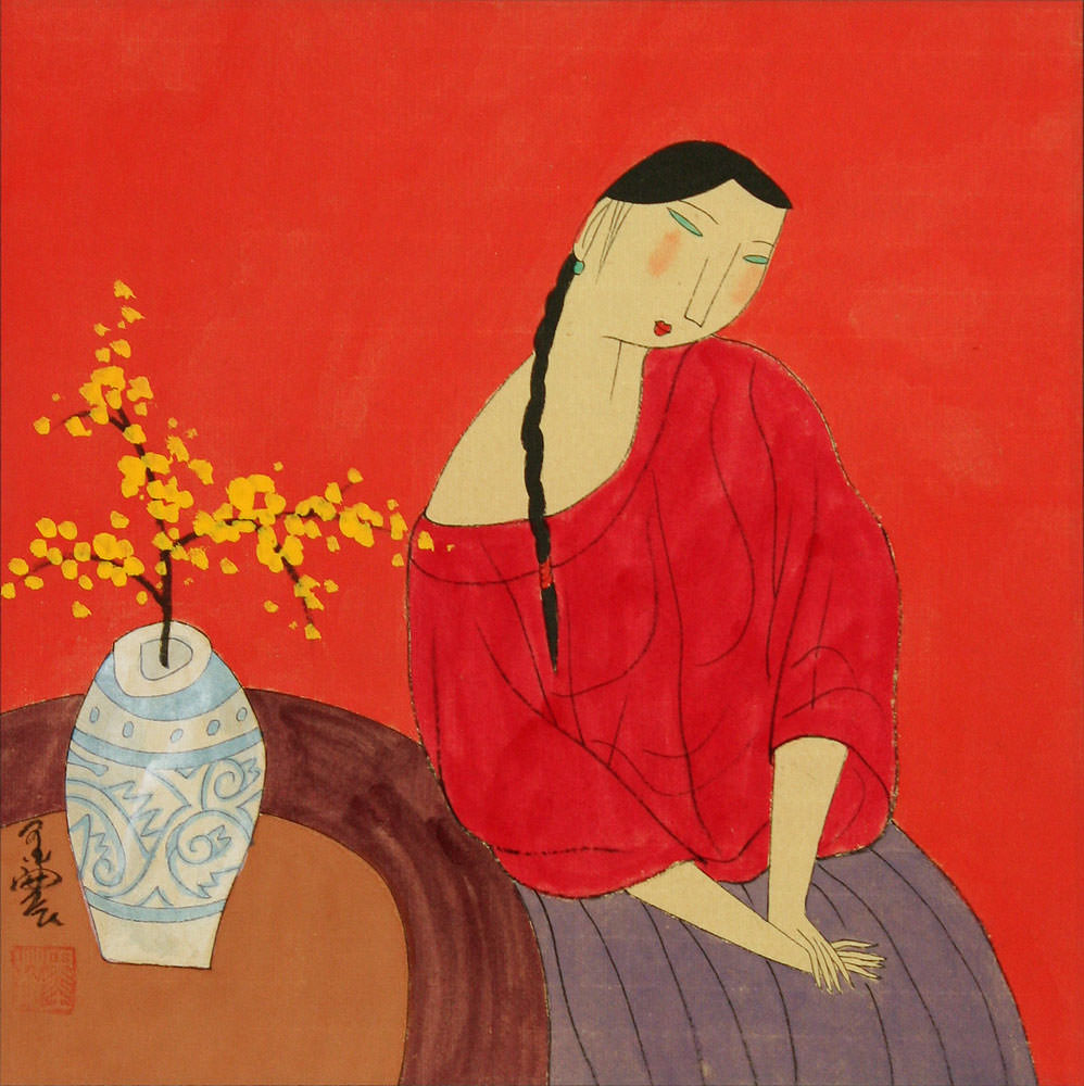 Woman and Plum Blossom Vase - Modern Art Painting