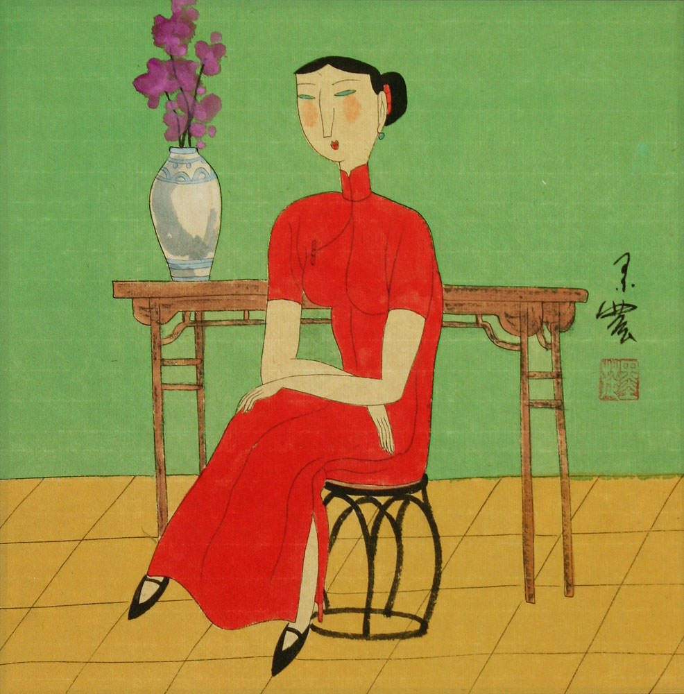 Asian Lady and Cat - Modern Chinese Art Painting