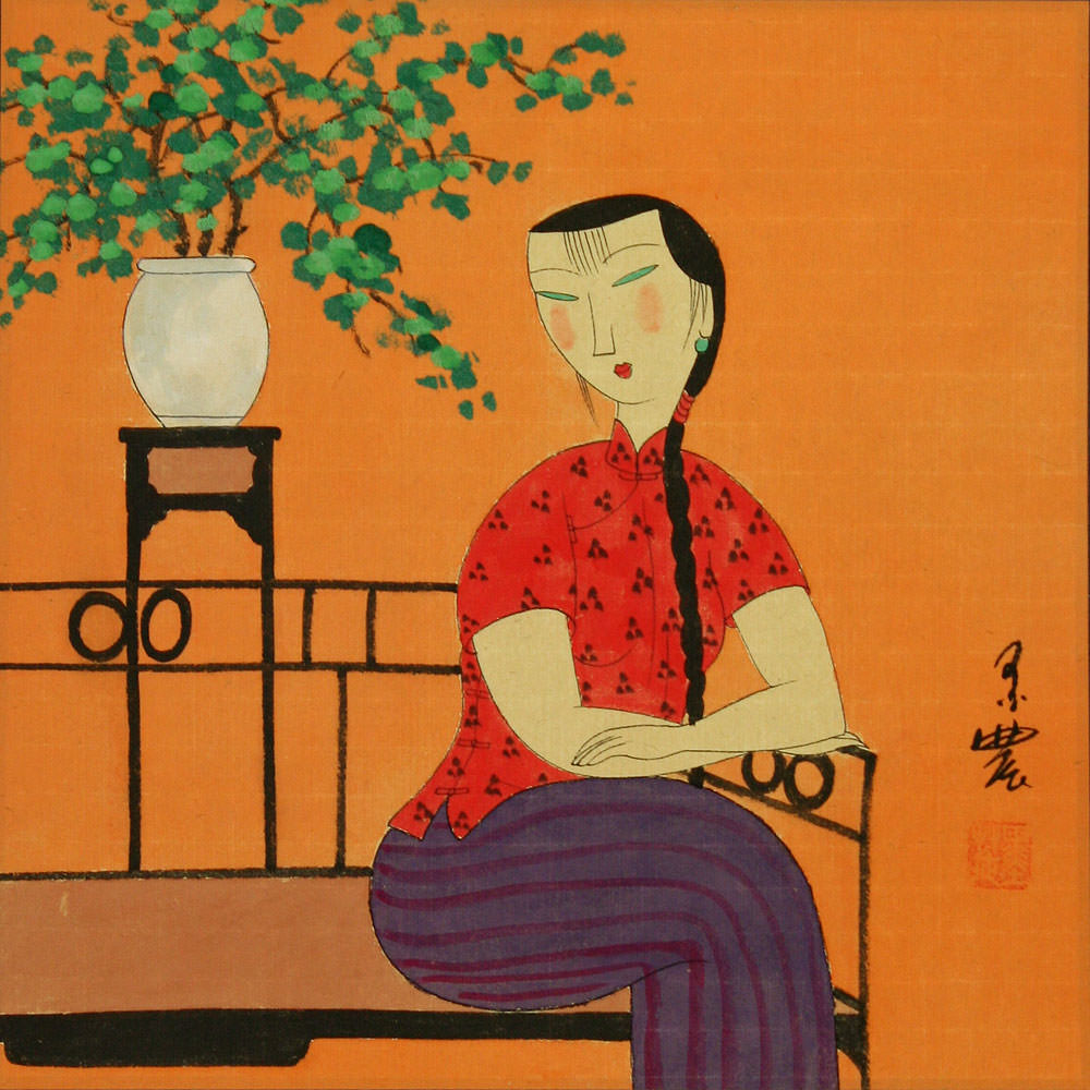 Woman and Bonsai - Modern Art Painting