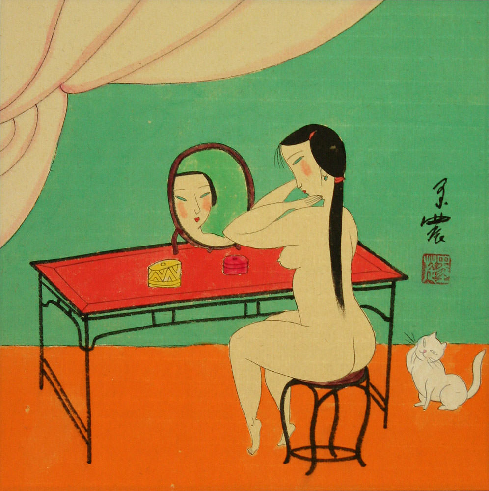 Nude Chinese Woman Mirror Gazing - Modern Art Painting