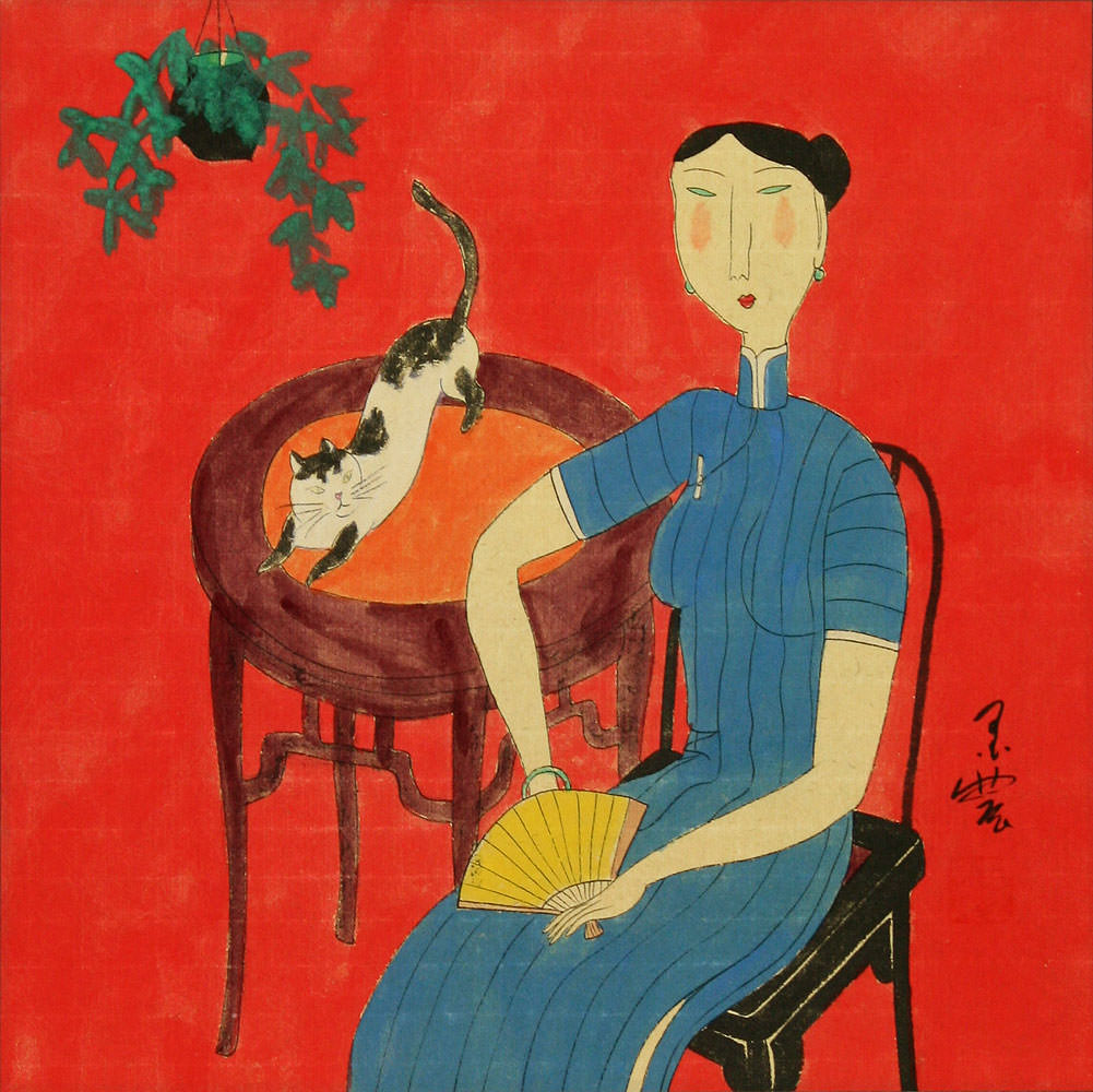 Woman and Cat - Chinese Modern Art Painting