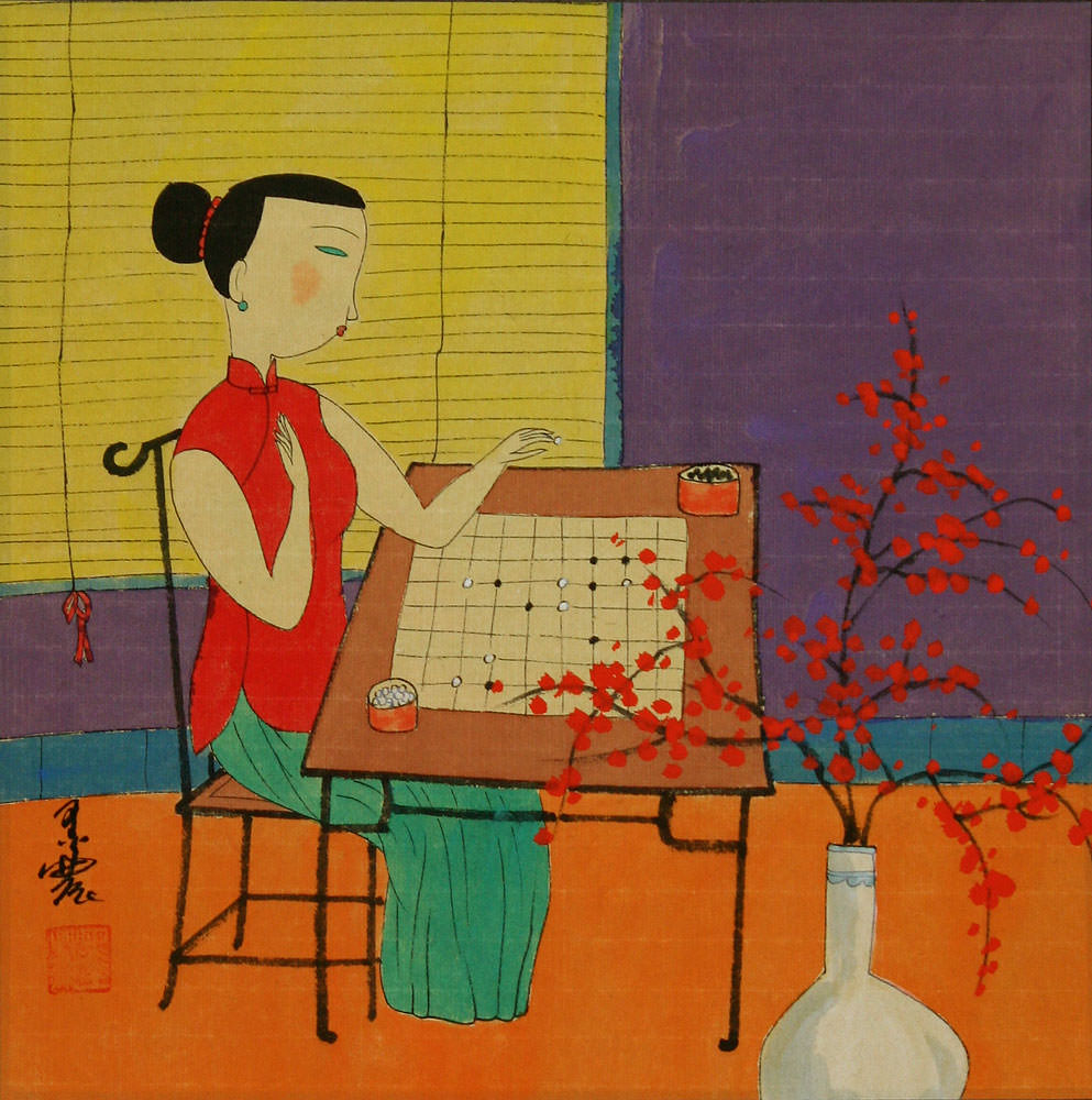 Woman Playing Go or Weiqi - Modern Art